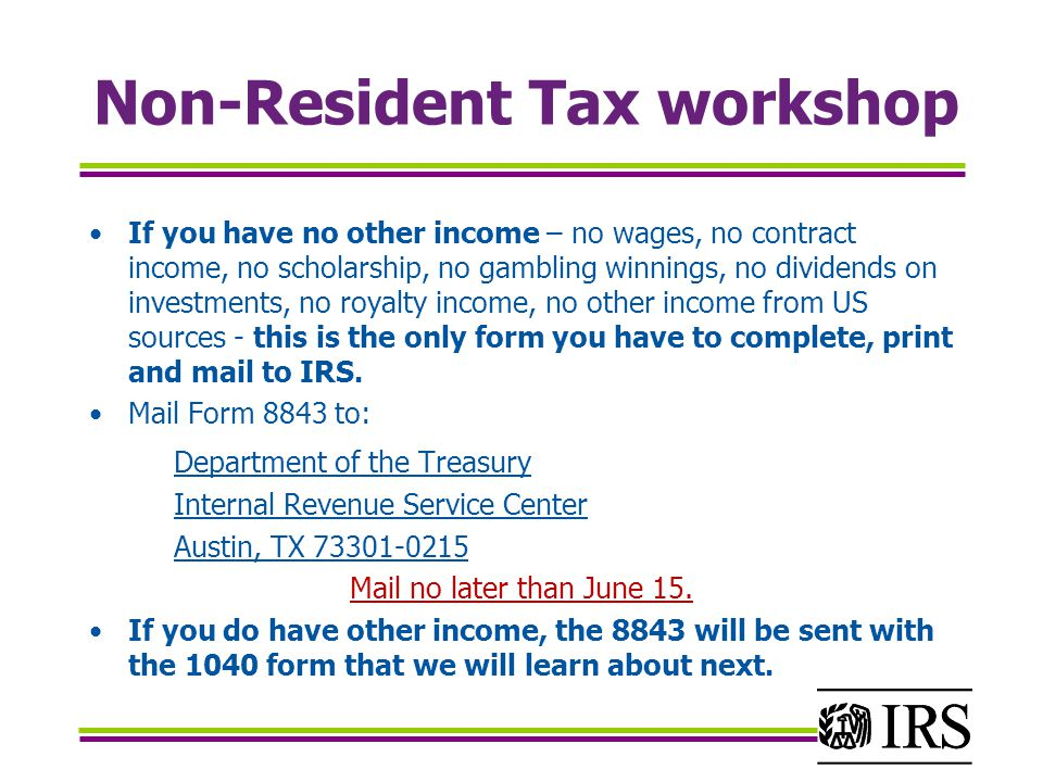 Non-Resident Tax workshop