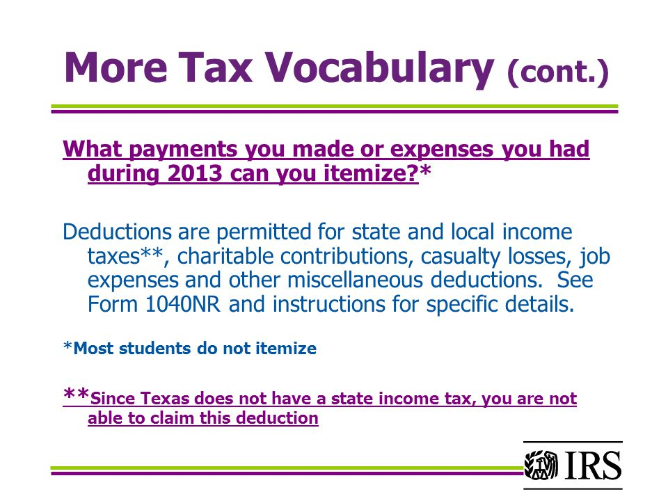 More Tax Vocabulary (cont.)