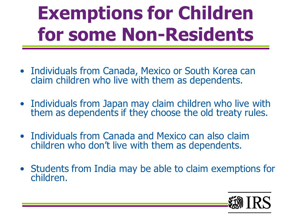 Exemptions for Children for some Non-Residents