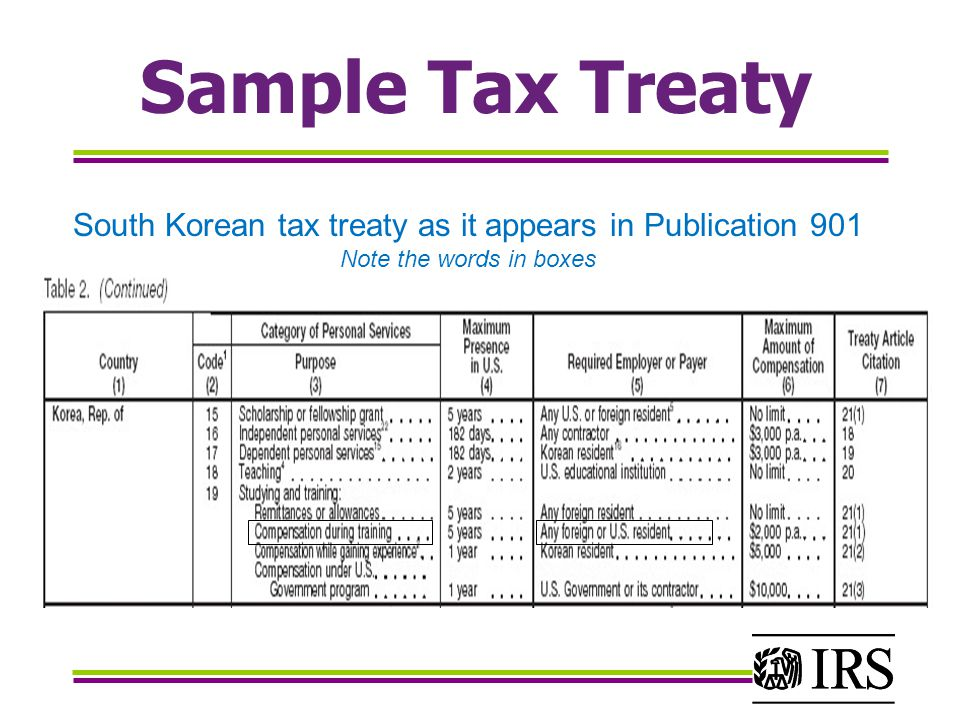 Sample Tax Treaty South Korean tax treaty as it appears in Publication 901 Note the words in boxes