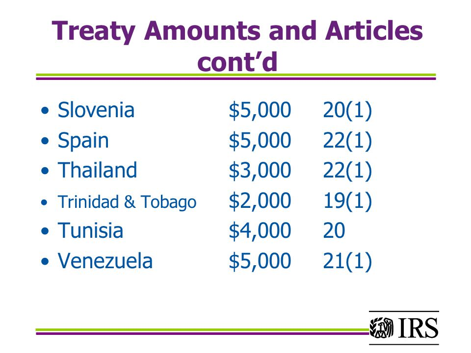 Treaty Amounts and Articles cont'd