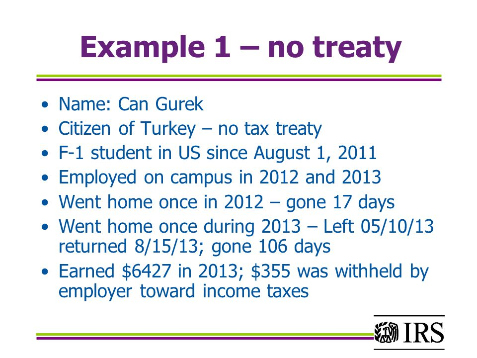Example 1 – no treaty Name: Can Gurek