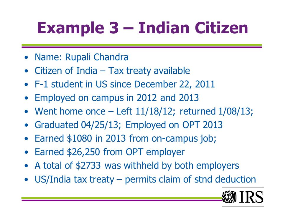 Example 3 – Indian Citizen