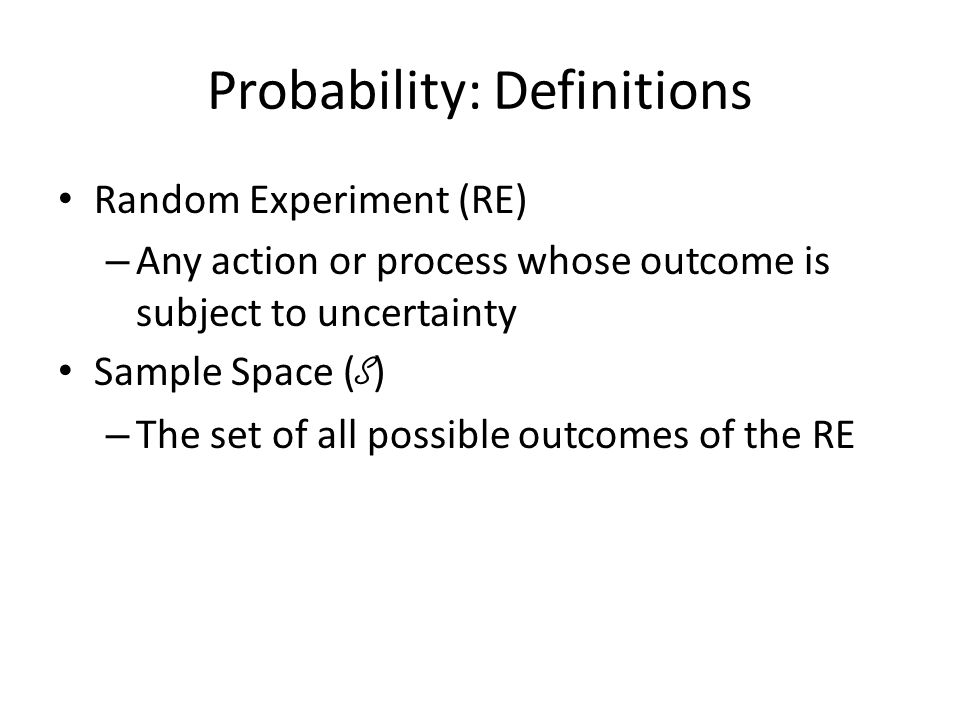Probability: Definitions