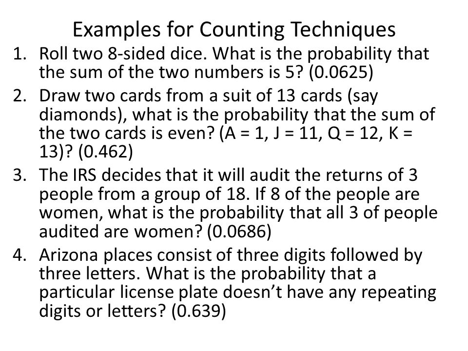 Examples for Counting Techniques