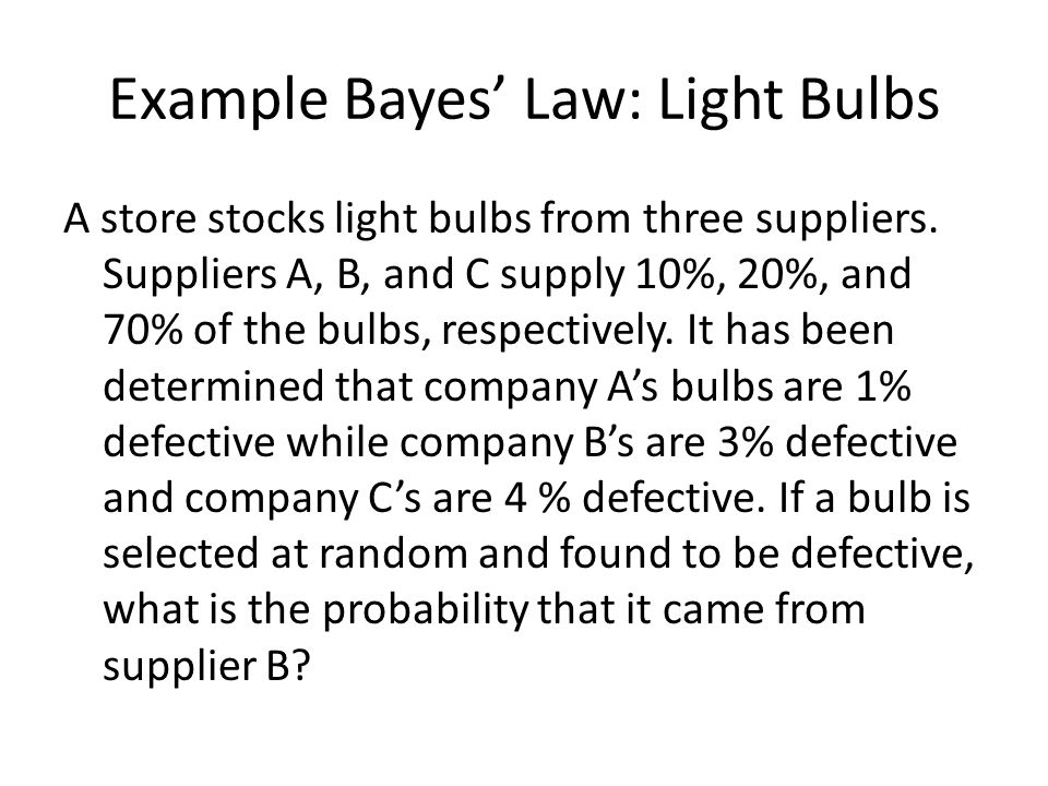 Example Bayes' Law: Light Bulbs