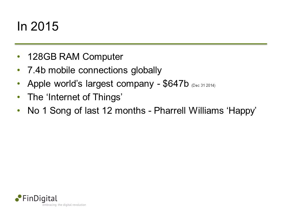 In 2015 128GB RAM Computer 7.4b mobile connections globally