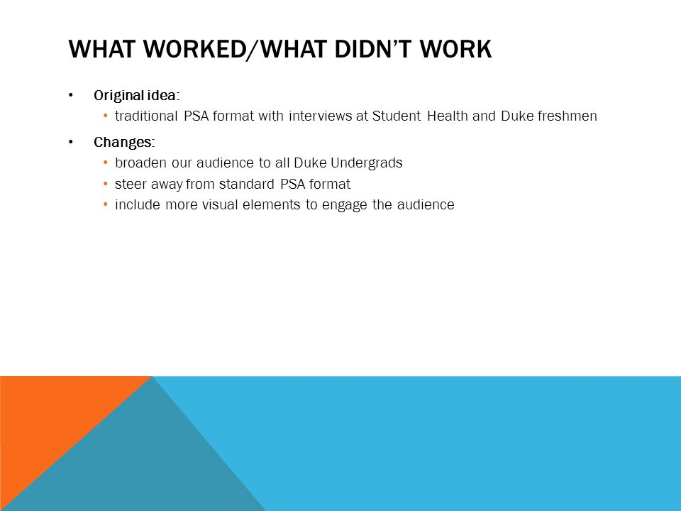 What worked/What didn't work