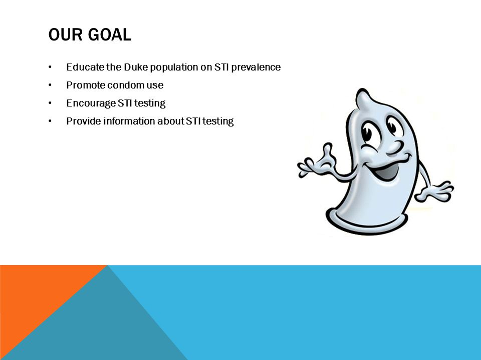 Our goal Educate the Duke population on STI prevalence