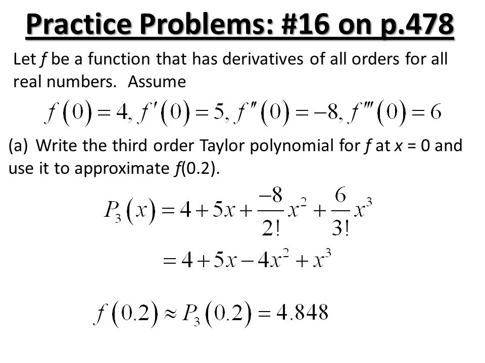 Practice Problems: #16 on p.478