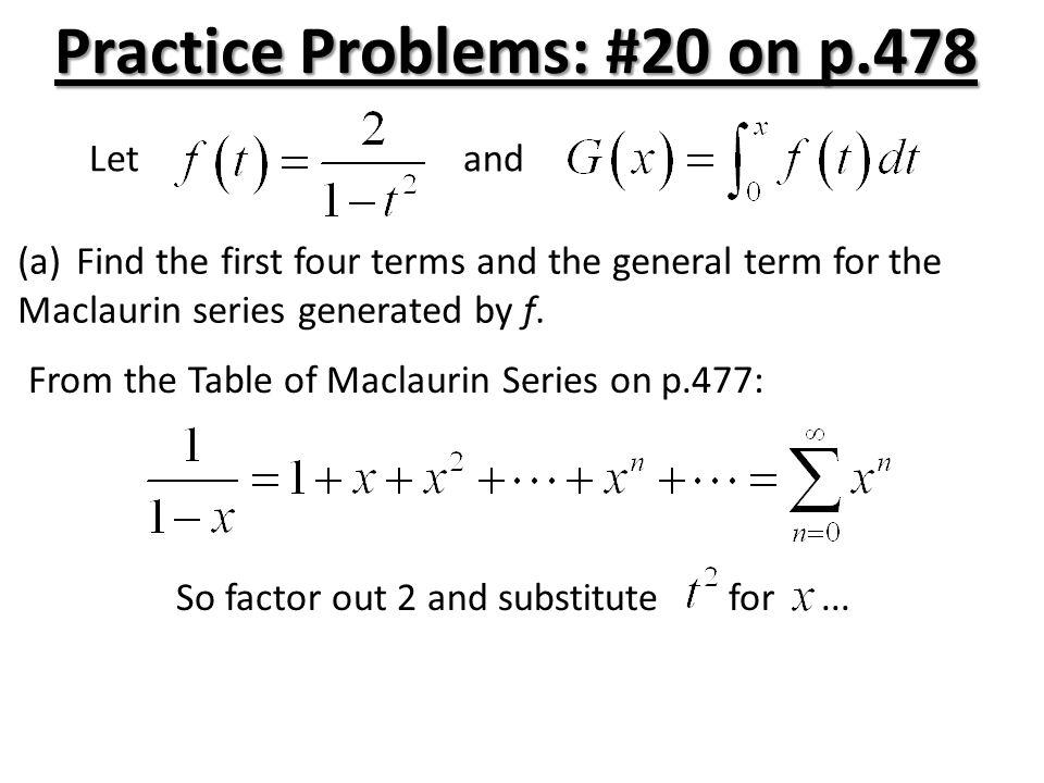 Practice Problems: #20 on p.478
