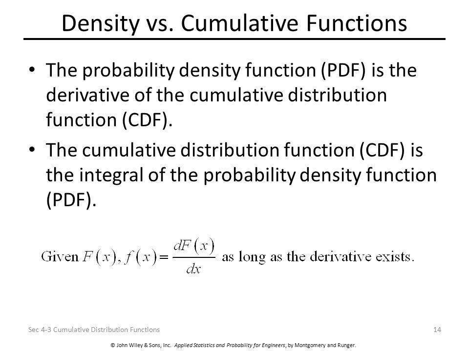 Density vs. Cumulative Functions