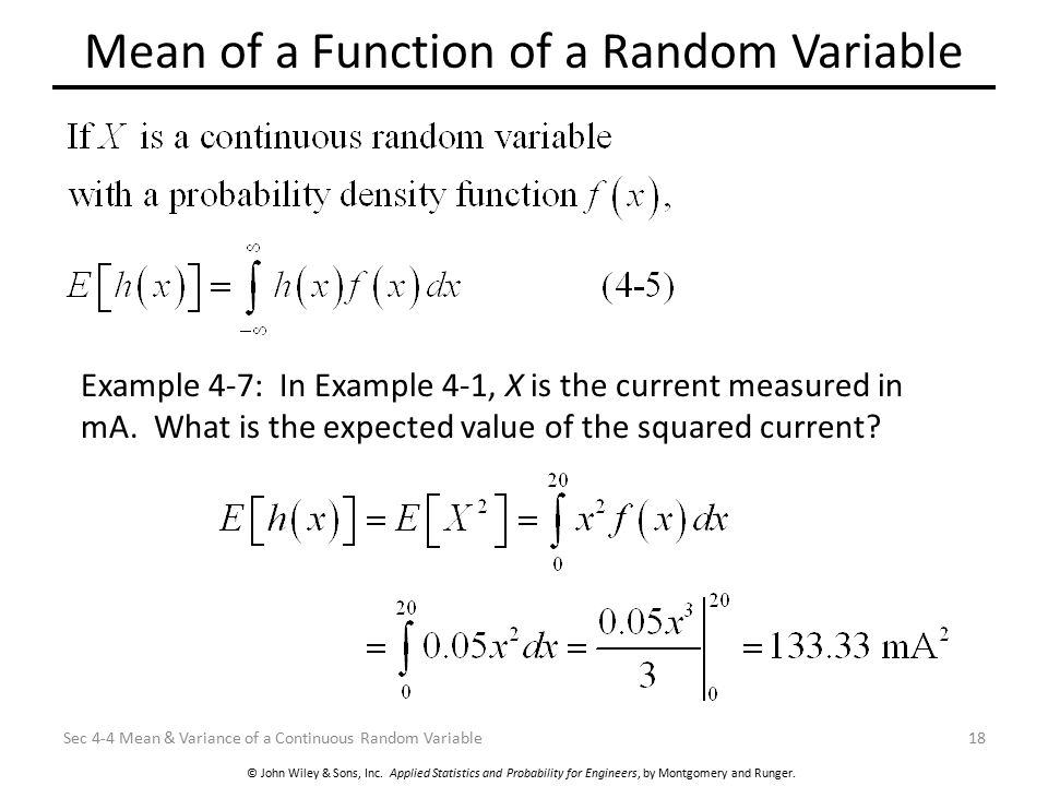 Mean of a Function of a Random Variable