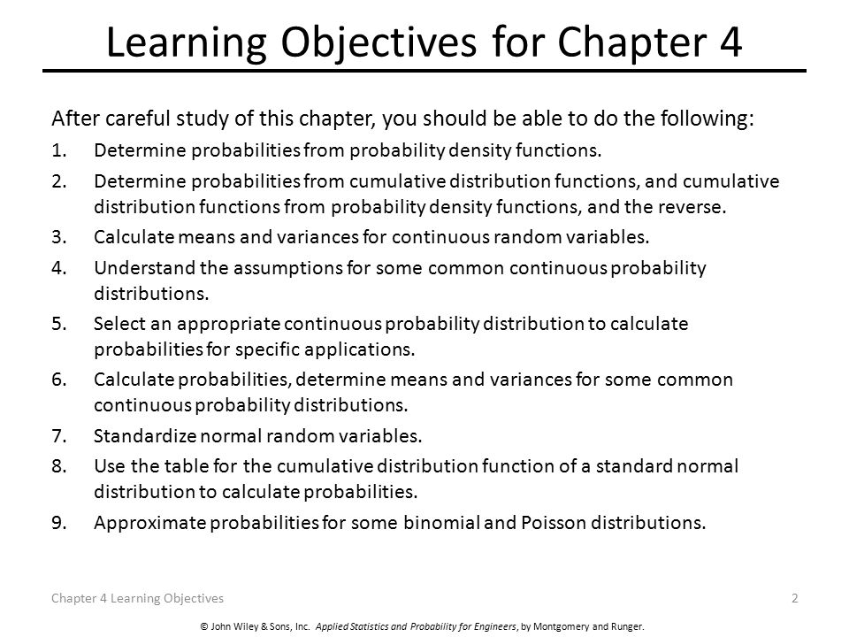 Learning Objectives for Chapter 4