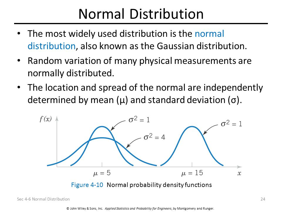 Normal Distribution The most widely used distribution is the normal distribution, also known as the Gaussian distribution.