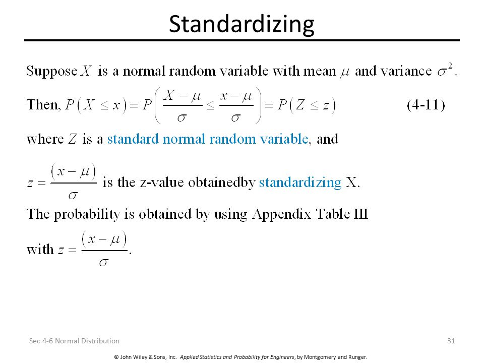 Standardizing Sec 4-6 Normal Distribution