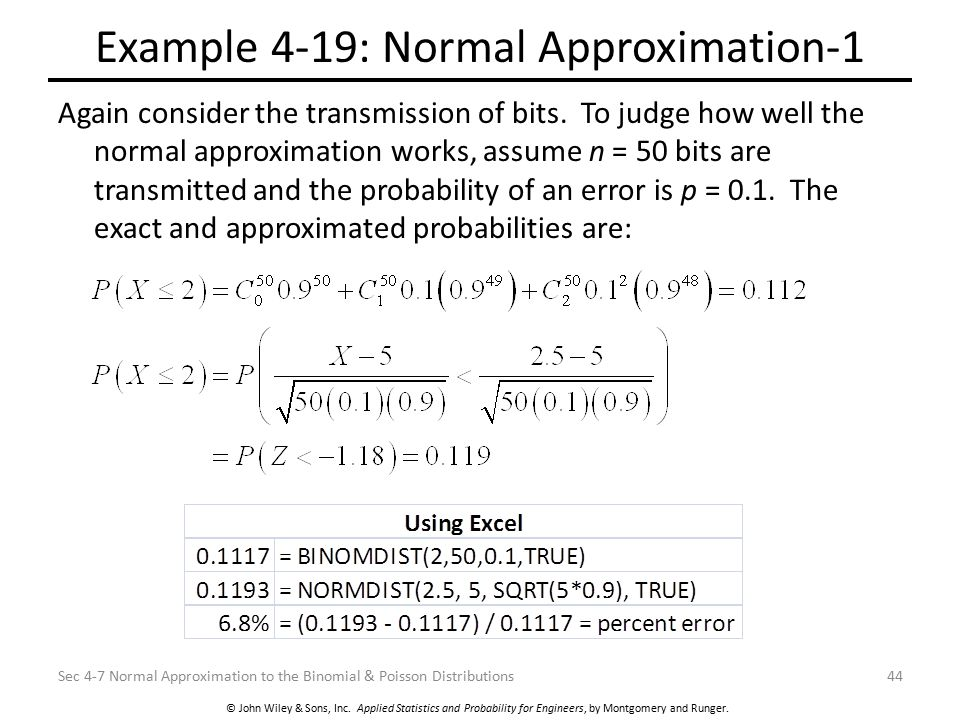 Example 4-19: Normal Approximation-1