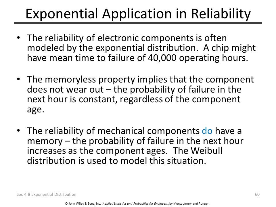 Exponential Application in Reliability