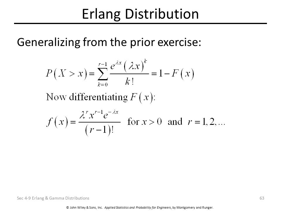 Erlang Distribution Generalizing from the prior exercise: