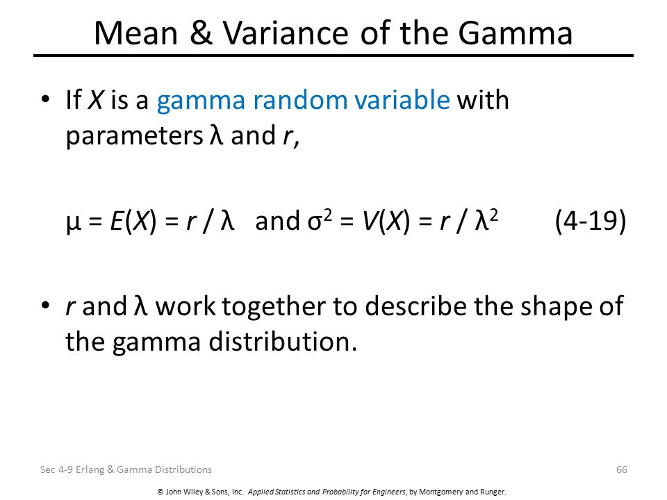 Mean & Variance of the Gamma