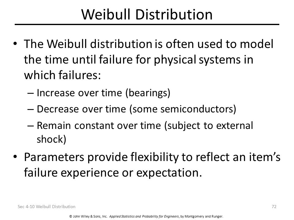 Weibull Distribution The Weibull distribution is often used to model the time until failure for physical systems in which failures: