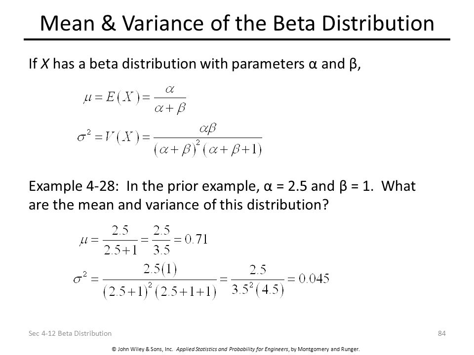Mean & Variance of the Beta Distribution