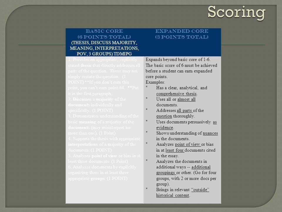 Scoring BASIC CORE (6 POINTS TOTAL)