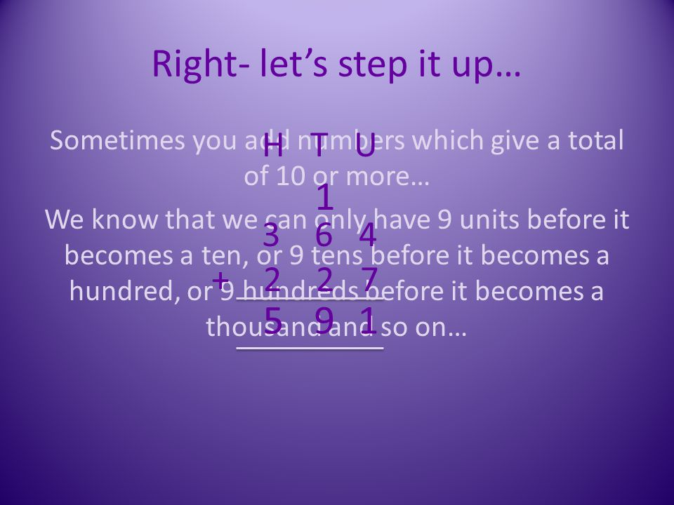 Right- let's step it up…
