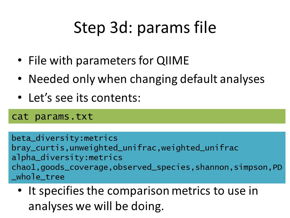 Step 3d: params file File with parameters for QIIME