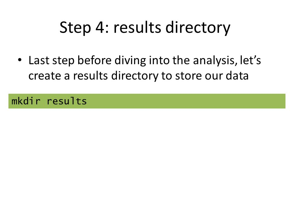 Step 4: results directory