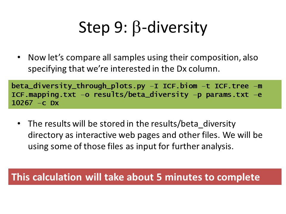 Step 9: b-diversity Now let's compare all samples using their composition, also specifying that we're interested in the Dx column.