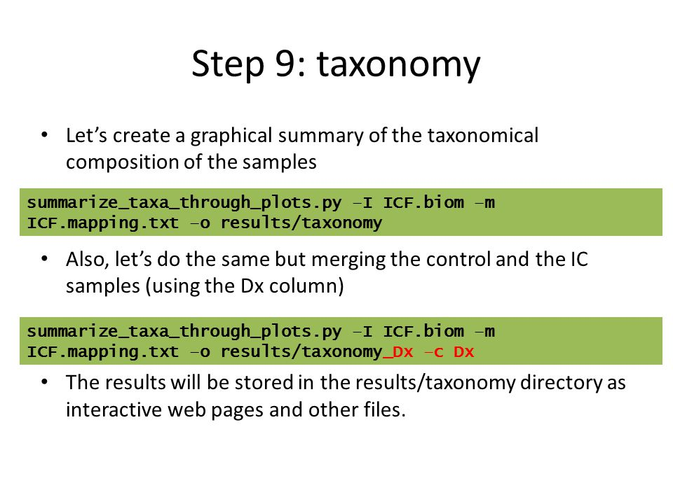 Step 9: taxonomy Let's create a graphical summary of the taxonomical composition of the samples.