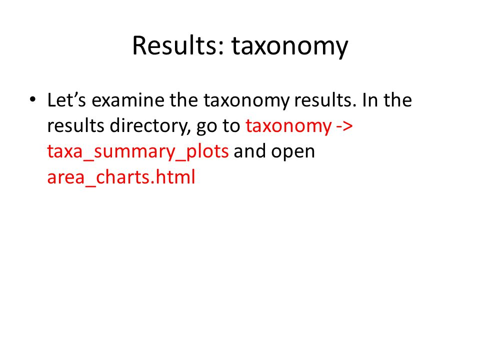 Results: taxonomy Let's examine the taxonomy results.