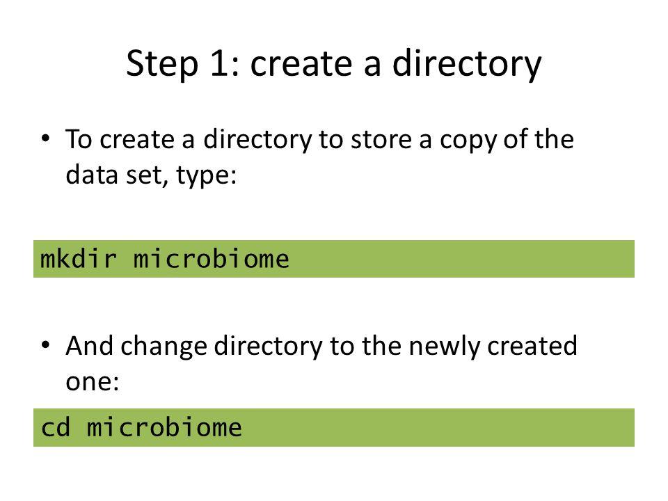 Step 1: create a directory