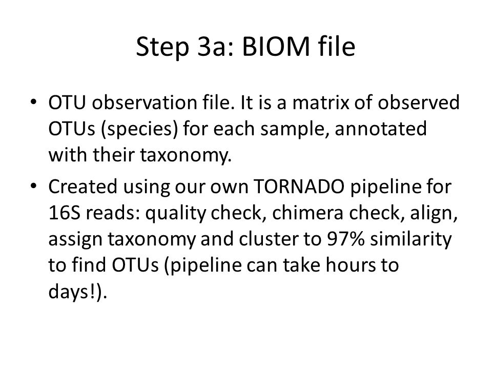 Step 3a: BIOM file OTU observation file. It is a matrix of observed OTUs (species) for each sample, annotated with their taxonomy.