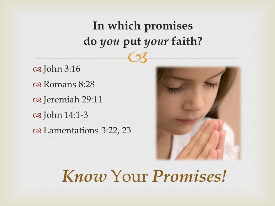 Know Your Promises! In which promises do you put your faith John 3:16