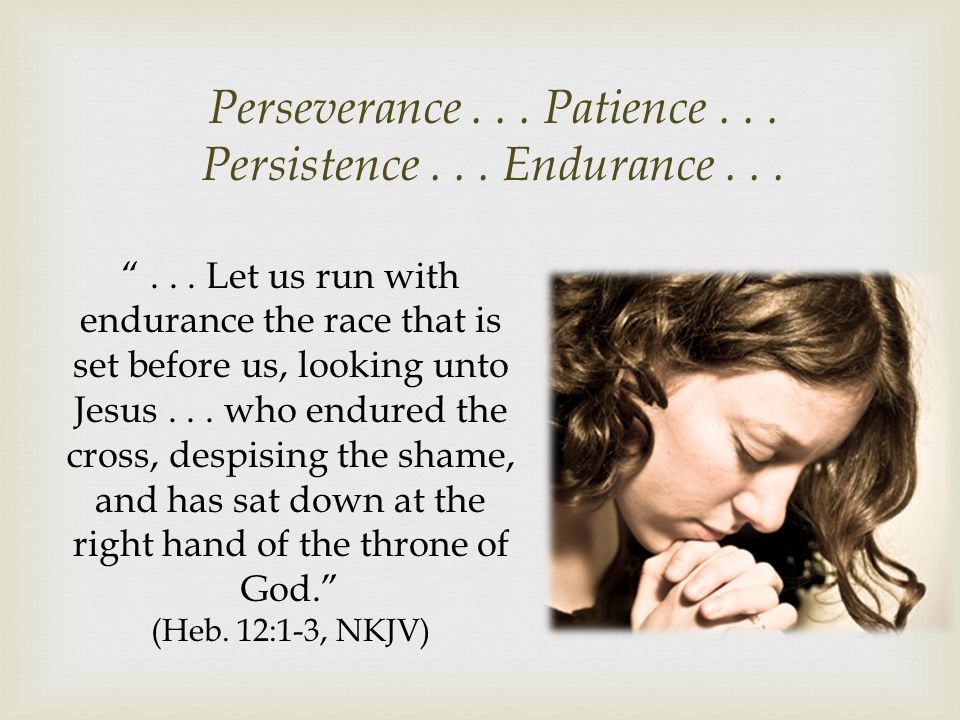 Perseverance . . . Patience . . . Persistence . . . Endurance . . .