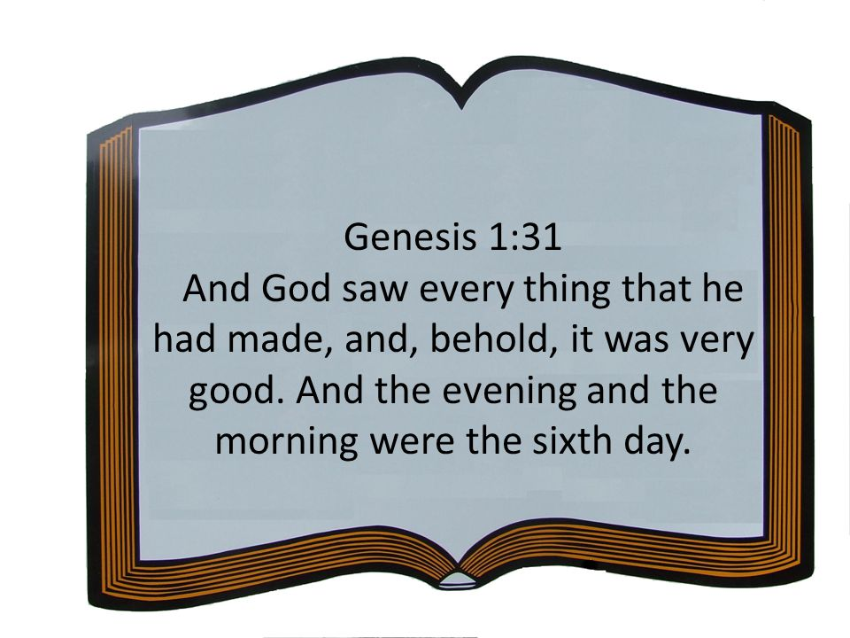 Genesis 1:31 And God saw every thing that he had made, and, behold, it was very good.