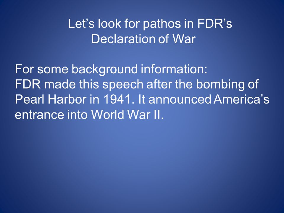 Let's look for pathos in FDR's