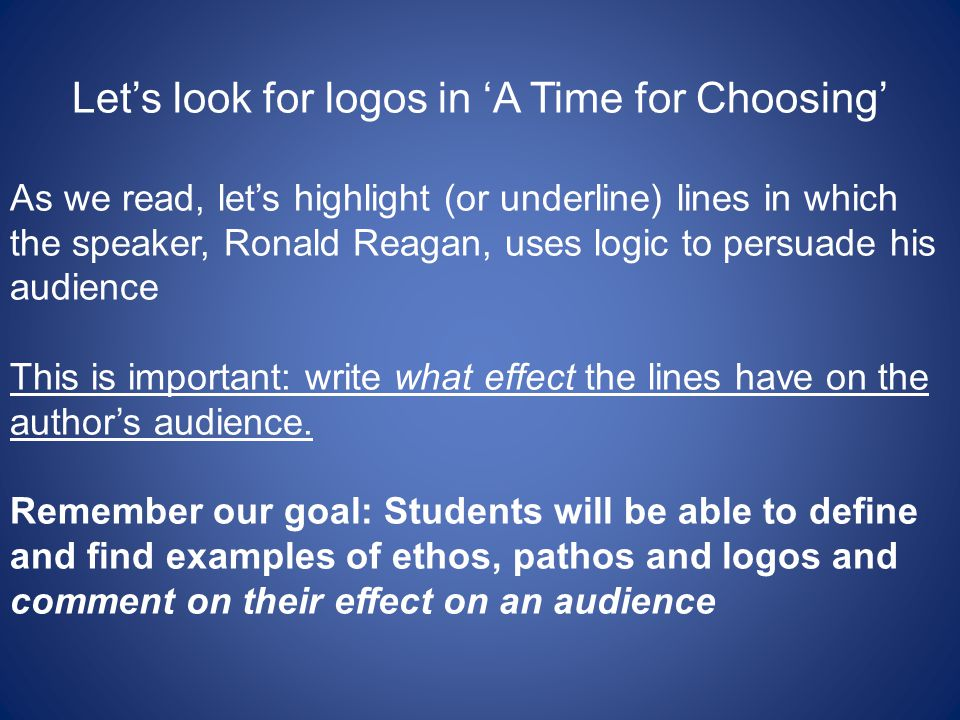 Let's look for logos in 'A Time for Choosing'