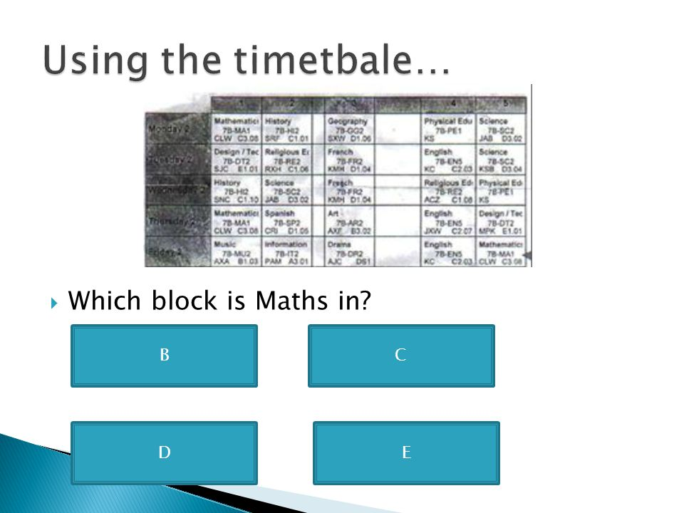 Using the timetbale… Which block is Maths in B C D E