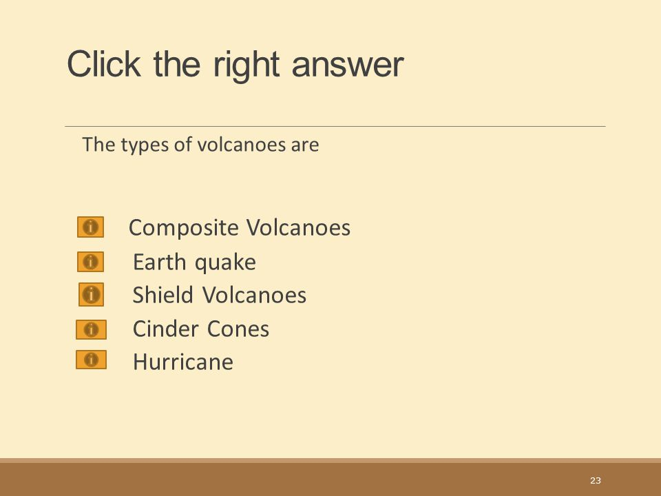 Click the right answer Composite Volcanoes Earth quake