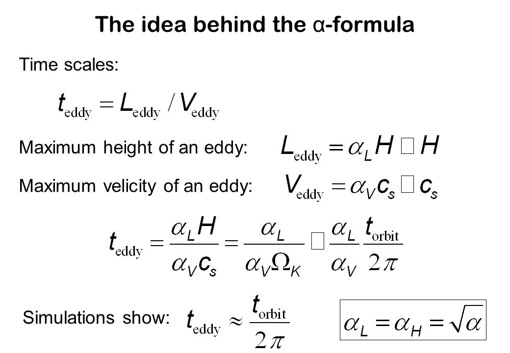 The idea behind the α-formula