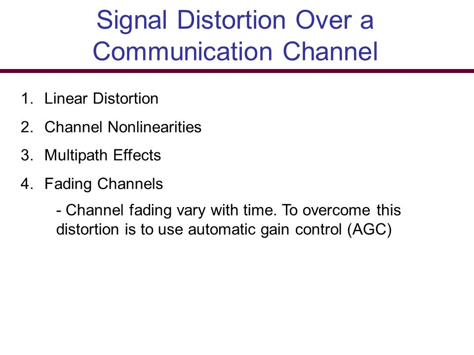 Signal Distortion Over a Communication Channel
