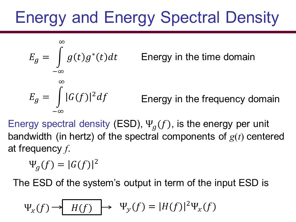 Energy and Energy Spectral Density