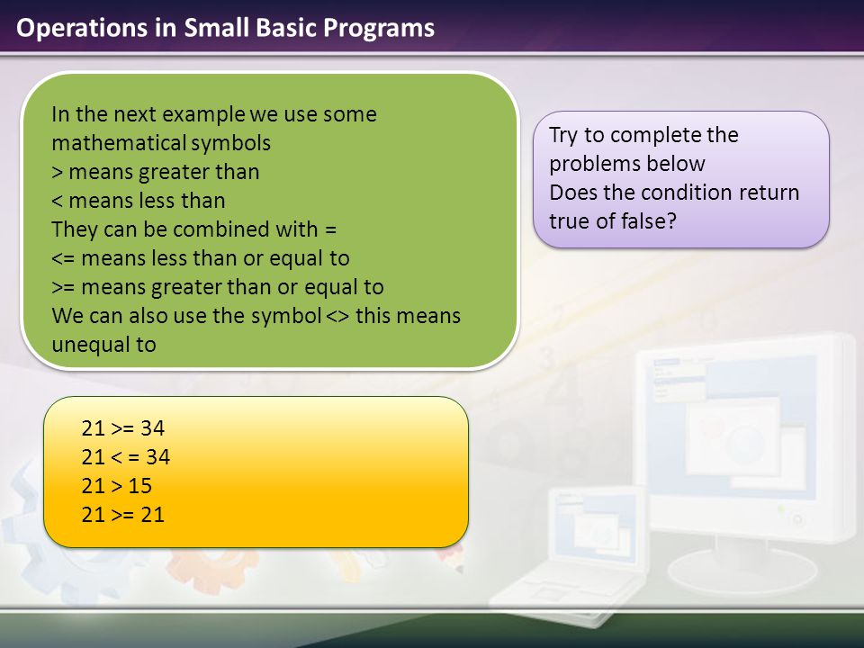 Operations in Small Basic Programs