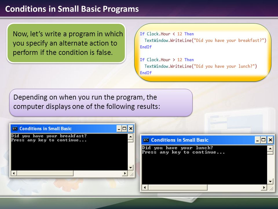 Conditions in Small Basic Programs