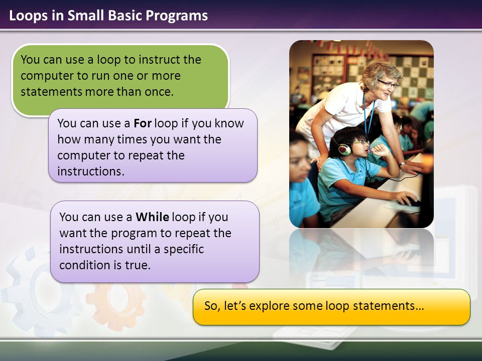 Microsoft small basic ppt video online download loops in small basic programs ccuart Image collections