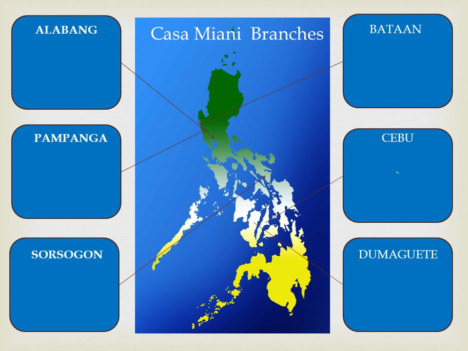 ALABANG Casa Miani Branches BATAAN PAMPANGA ` CEBU SORSOGON DUMAGUETE