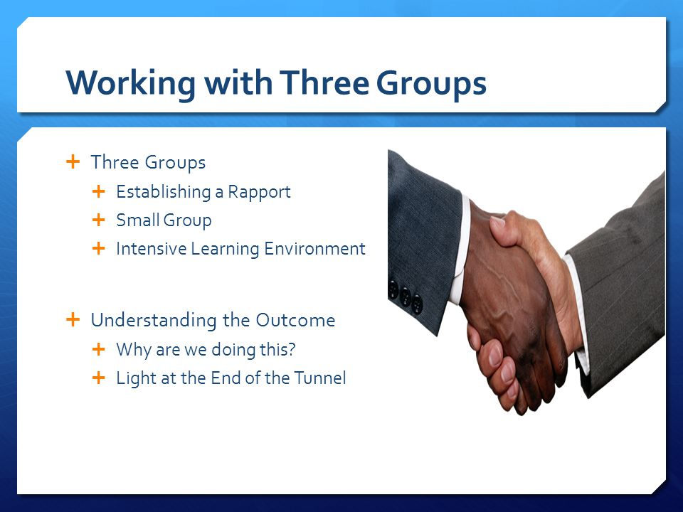 Working with Three Groups